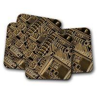 4 Set - Virtual Currency Pattern Coaster - Money Digital Crypto Fun Gift #14358
