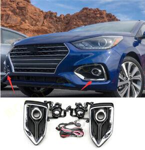For Hyundai Accent 2018-2019 2021 Bumper Fog Light Kit w/ Wiring Switch Bezel