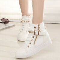 Womens New High Top Sneakes Skull Flat Canvas Zip Casual Lace Up Althetic Shoes