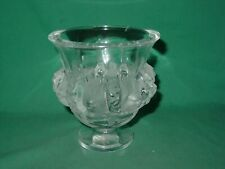Vintage Lalique Dampierre Vase Sparrow Vines Birds France Art Glass Urn