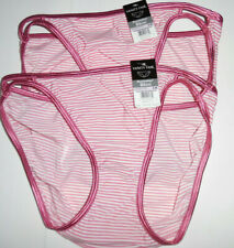 2 Vanity Fair Bikini Panty Set 18108 Illumination 6 M Pink Striped Print NWT