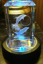 3D Laser Etched Dolphin Glass Crystal Prism Cube Weight LED Color Changing Base