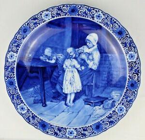 Large Vintage PORCELYNE FLES DELFT Blue & White Porcelain Charger After Blommers