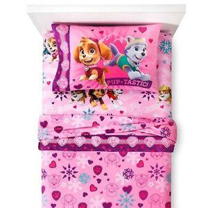 3pc PAW PATROL TWIN BED SHEET SET - Skye Pink Best Snow Girls Flannel Bedding