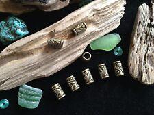 Bronze Metal Dread Beard Beads 8x Carved Swirl Viking Braid Beads Dreadlocks 5mm
