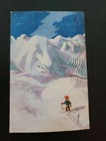Vtg Christmas Postcard ARTIST JULEKORT H. TOLSTAD SKIIER MOUNTAIN  NORWAY 40s
