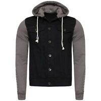 Mens Hooded Cotton Jeans Denim Jacket With Sweatshirt Sleeves & Hood Size S-4XL