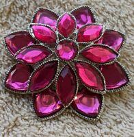 Beautiful Vintage Pink/Red Crystal Flower Brooch Rubellite Color