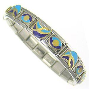 "Italian Charms Bracelet  Designer 18ct Gold and Enamel "" Ocean Breeze """