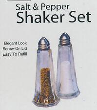 "Salt & Pepper Shaker Set Elegant Glass 4 1/2"" tall base is 1 5/8"" w ea wt 3.4 oz"