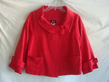 WOMENS AUTH PHILIPPE ADEC JACQUARD SHORT BLAZER  NEW RED SIZE 4 RETAIL $150