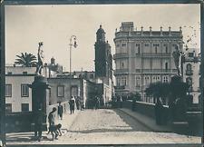 Espagne, Las Palmas, vue sur une artère marchande  Vintage silver print,