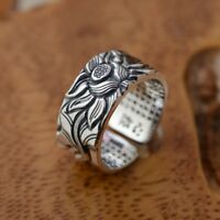 pure 990 sterling silver lotus ring rings Heart Sutra lover jewelry  gift p897