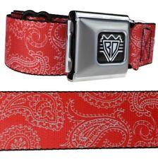 Men's Red & White Paisley Design Seatbelt Style Bandana Print Belt Size 24-42