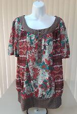 Lane Bryant Peasant Short Sleeve Blouse Paisley Floral 18/20 NWOT