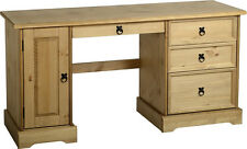 CORONA 3 Drawer Computer Desk With Distressed Waxed Pine - Next Day Delivery