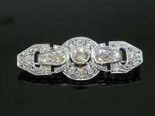 Stunning Art Deco 1930 2.2CTW Diamond 14K White Gold Bar Brooch, 6.1g