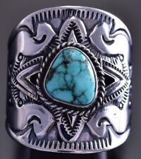 Size 12-3/4 Silver & Turquoise Star Navajo Men's Ring by Derrick Gordon 9E13E