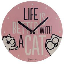 Simons cat pink fun wall clock