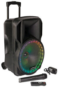 Mobile Akku Sound Anlage PARTY-15RGB Bluetooth USB MP3 Radio Funkmikro Karaoke