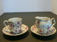 """INARCO"" SMALL ROSE TEACUP/SAUCER; SMALL CREAMER/SAUCER - MADE IN JAPAN"