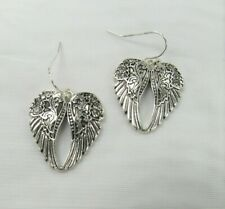 Silver Plated Angel Wings Dangle Drop Earrings With Stones # 1493 New