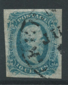 USA Confederate State gen issue SG12 10c die A blue fine used 4 margs. Cat £24
