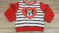 Disney Minnie Mouse Girls Long Sleeve Crew Neck Top RED WHITE  3-4 YRS  A352-25