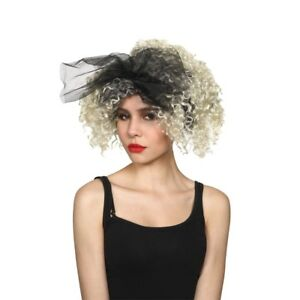 Blonde Curly Perm Madonna 1980s Wild Child Fancy Dress Wig Accessory New