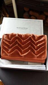 Manzoni burnt orange genuine leather clutch purse / wallet Brand new in box