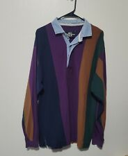 Vintage Mens Purple green and Navy Rugby Polo Long Sleeve Shirt Large 90s stripe