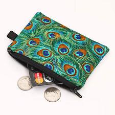 Coin Purse Womens Zipper Wallet Animal Zip Card Pouch - peacock golden feather