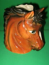 Vtg Relpo Horse Head Vase Planter 6739 Chestnut Bay Blaze Impish look Mare-ish