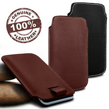 For Samsung Galaxy Amp Prime - Genuine Leather Pull Tab Flip Case Cover Pouch