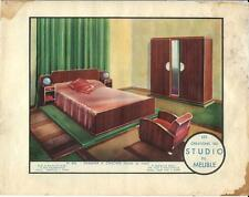 Stampa antica MOBILI Camera da letto Georges Arou 1933 Antique Print FURNITURE
