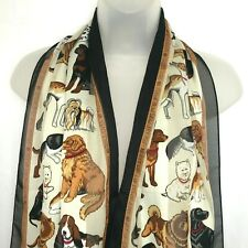 Ladies Scarf Dog Print Mixed Breed Semi Sheer Oblong Wrap Pet Lover Black Brown