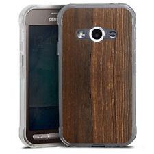 Samsung Galaxy Xcover 3 Silikon Hülle Case - Nußbaum Holzlook