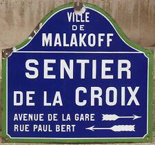 Old French enamel street sign Sentier de la Croix Cross Paris Malakoff 1920s