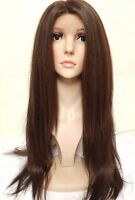 Brown Human hair lace wig, Swiss lace, silk lace,hand tied, free part