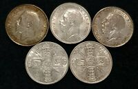 GEORGE V 1911-1919 STERLING SILVER FLORINS NF TO EF CHOOSE YEAR & GRADE IMAGES