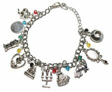 Beauty & The Beast Themed Silvertone Charm Bracelet w/ Lobster Claw Clasp