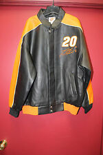 New Tony Stewart #20 Home Depot Zip up Faux Leather jacket men's L