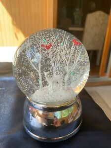 Elegant Musical Snow Globe white deer white tree Red Cardinals Merry Christmas