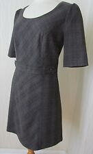 NEXT TAILORED SHORT SLEEVE BROWN GREY CHECK BUSINESS OFFICE DRESS - 12