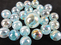 25 Glass Marbles ICE QUEEN Blue/White Swirls Clear Iridescent game pack Shooter