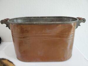 Vintage Antique Primitive Copper Boiler Wash Tub with Wood Handles 26x 13 x 12.