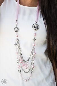 """NEW PAPARAZZI """"ALL THE TRIMMINGS"""" PINK NECKLACE & BRACELET SET Vintage"""