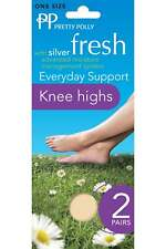 4ab19ec87274f Pretty Polly Silver Fresh 15 Denier Medium Support Knee Highs 2 Pair Pack  Nude One Size