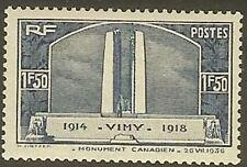 "FRANCE STAMP TIMBRE N° 317 "" VIMY MEMOIRE CANADIENS 1F50 BLEU "" NEUF xx TTB"