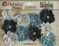 Dahlia Mix BLUE 10 Teastained Paper Flowers 40mm across Darjeeling Petaloo Ver